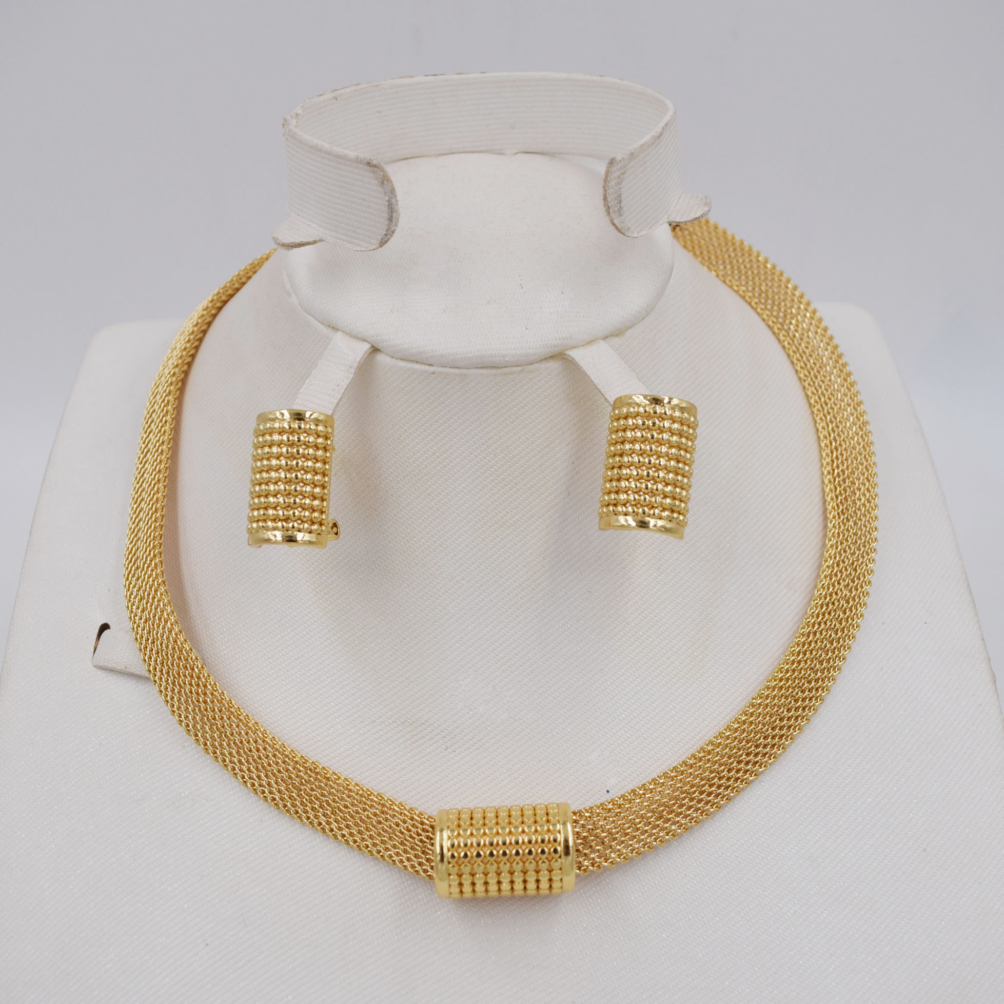 New Design High Quality Italy 750 Gold Color Jewelry Set For Women African Beads Jewlery Fashion Necklcace Set Earring  Jewelry