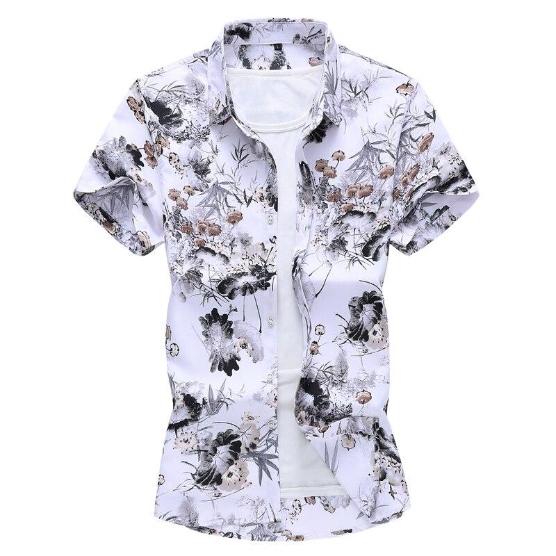 2019 New Summer Mens Short Sleeve Beach Hawaiian Shirts Cotton Casual Floral Regular Plus Size M-5XL Clothes Fashion
