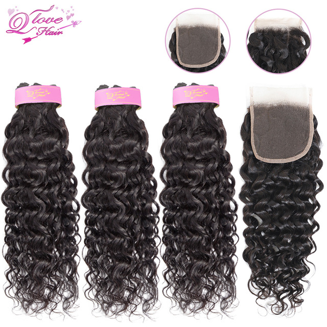 Tissage en lot brésilien Remy 100% naturel-Queen Love Hair   Cheveux ondulés, avec Closure
