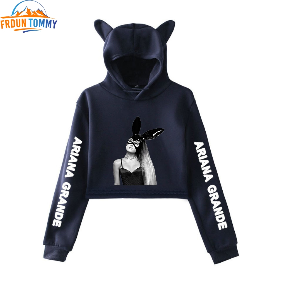 Ariana Grande Cat Crop Hoodies Hot Fashion So Trend Sala Cat Crop Top Women Hoodies Sweatshirts Sexy Ariana Grande Sweatshirt
