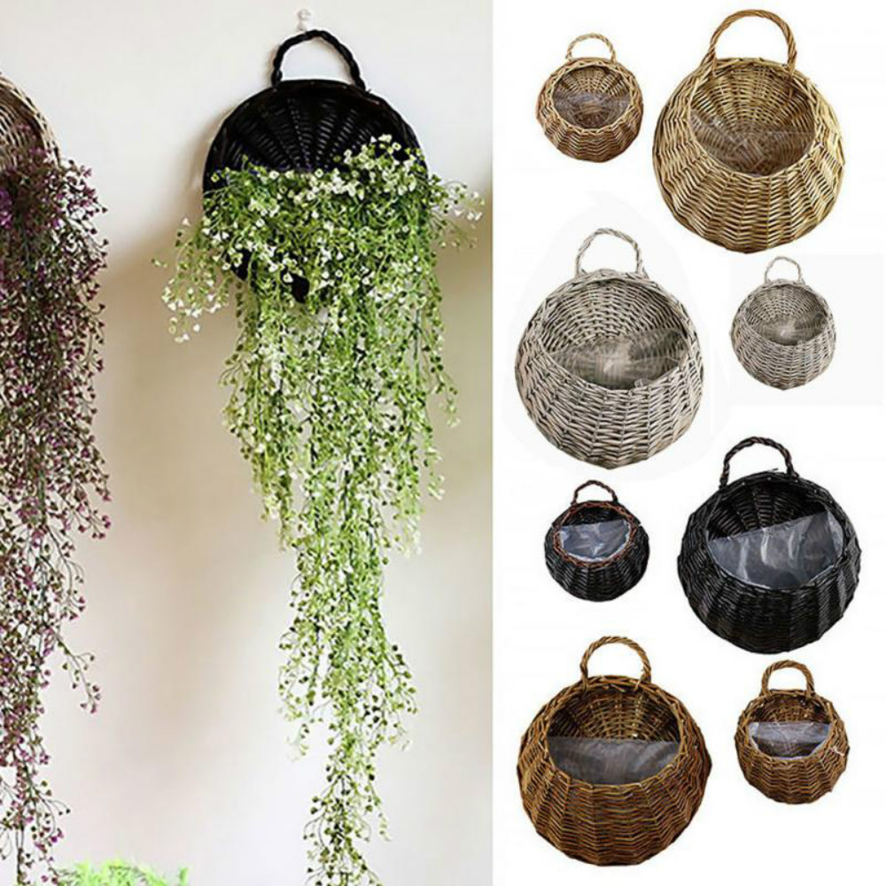 Hanging Basket Planter Poly-Wicker Woven Rattan Flower Plant Pot Basket Porch Balcony Decoration for Patio Garden Wall-Mounted