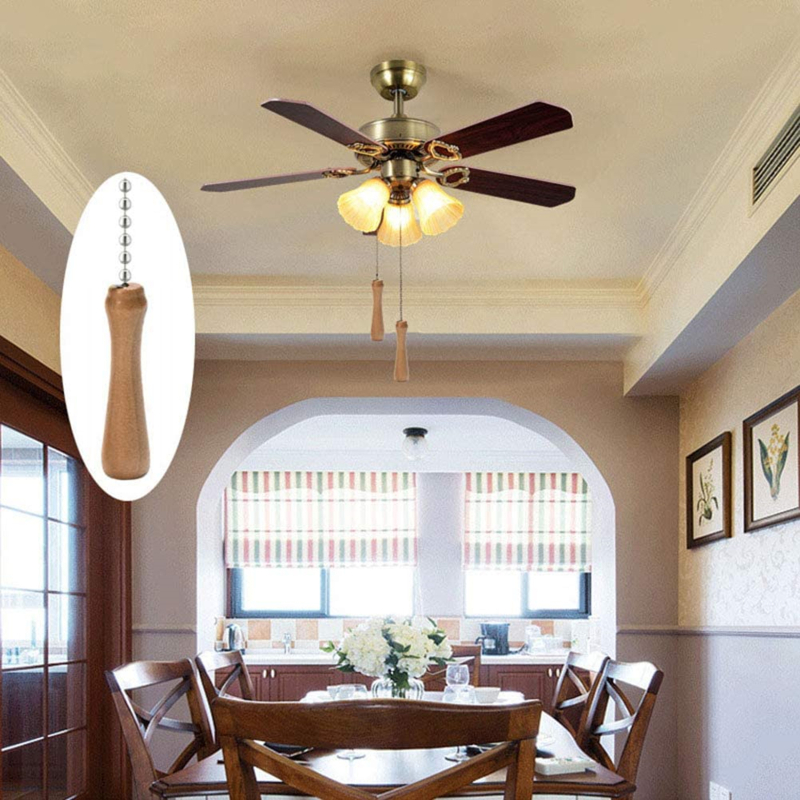 Wooden Pillars Walnut Pendant 11 Inch Antique Lighting Fans Brass Pull Chain Ceiling Fans Ventilation 1Pack High Quality Tools