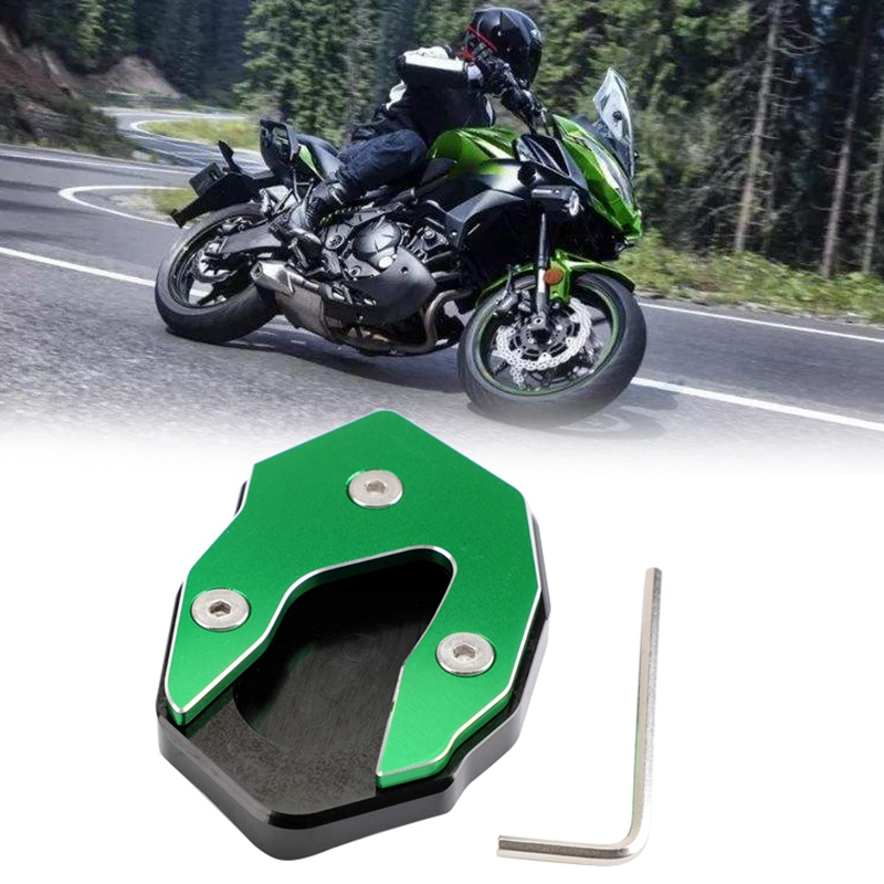 Motorcycle Feet Pads Kickstand Side Stand Extension Enlarger Pad For KAWASAKI Versys-X300 2017-2018