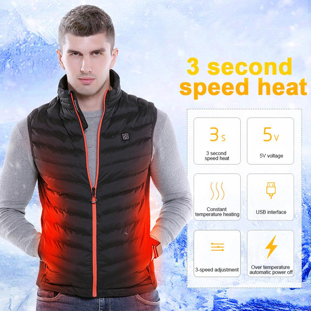 Jacket Coat Heating-Pad Body-Warmer Skiing Winter Plus-Size Women USB Outdoor title=