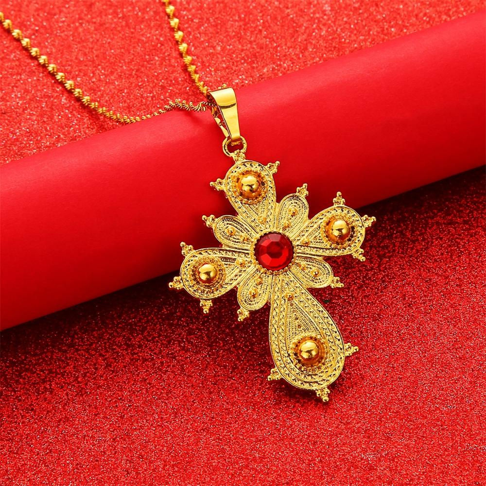 Ethiopian Big Cross Pendant Necklaces for Women Eritrea Jewelry Africa Ethnic Pendant