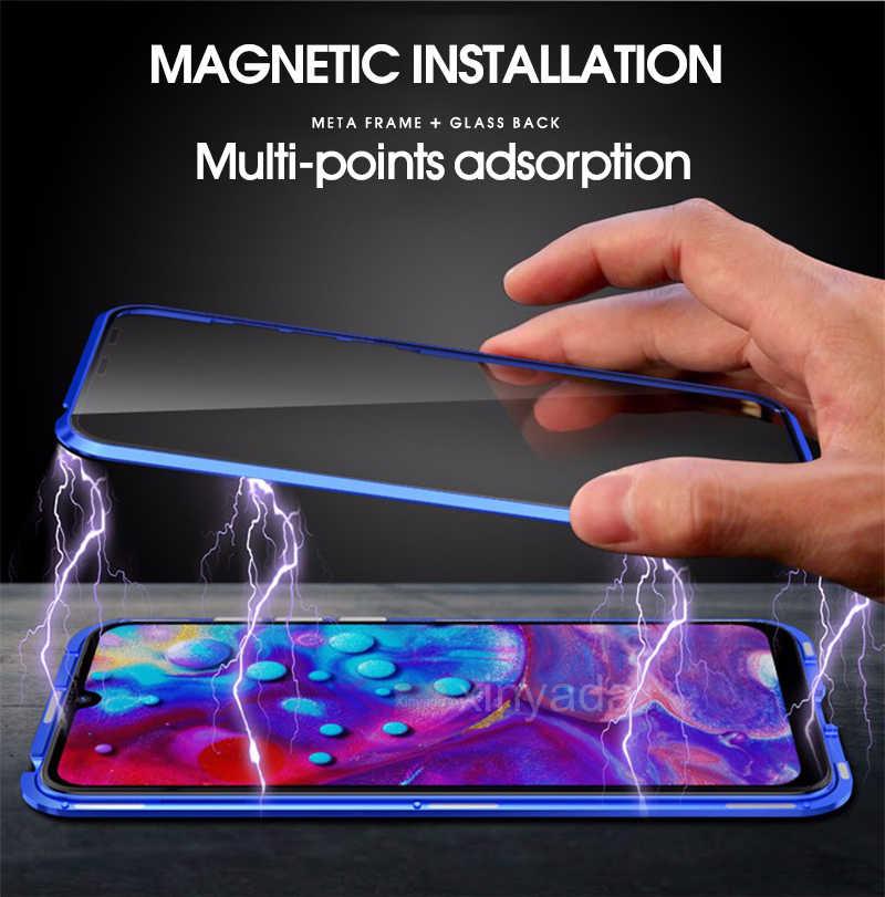 フルボディフリップ磁気シャオ mi mi 9 SE mi 9 Lite mi 8 mi 8 プロケース 360 両面強化ガラスカバーマグネット金属 Coque