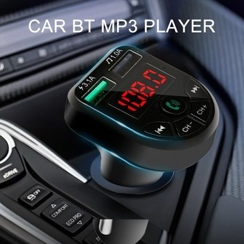 Bluetooth 5.0 Bluetooth Wireless Car kit Handfree FM Transmitter Dual USB Car Charger 2.1A MP3 Music TF Card U disk AUX Player image