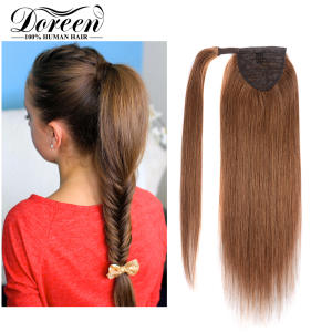 Hairpieces Ponytail Human-Hair-Extensions Brazilian Brown Clip-In 14--To-22-Light Machine-Made