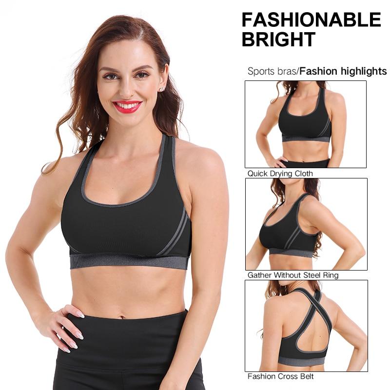 SEXYWG Cross-Back Sports Bra for Women Gym Althletic Vest Yoga Bras Push Up Brassiere BH Sport Top Crop Sportswear Fitness Shirt (4)