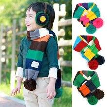 Симпатичный помпон, зимний шарф в полоску, детский шарф с помпоном, теплый шарф для шеи, теплые шарфы для детей, echarpe foulard