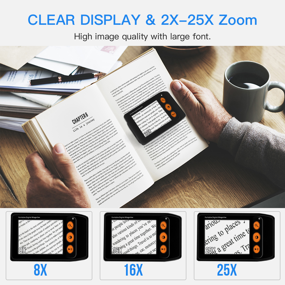 For 3 5 Eyoyo Magnifier Foldable Low LCD Aid Inch 2x Zoom Screen Digital Video Magnifier Reading Vision Electronic Portable 25x