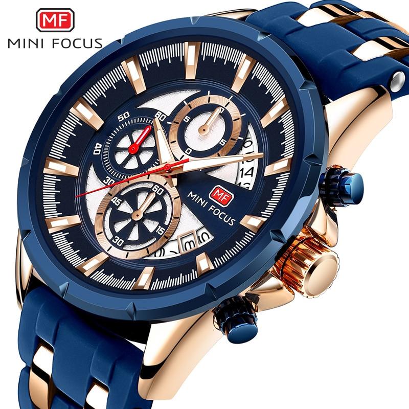 MINI FOCUS Fashion Men's Quartz Watch Waterproof Sport Watch Luminous Hands Men Luxury Brand Watches Calendar Silicone Strap