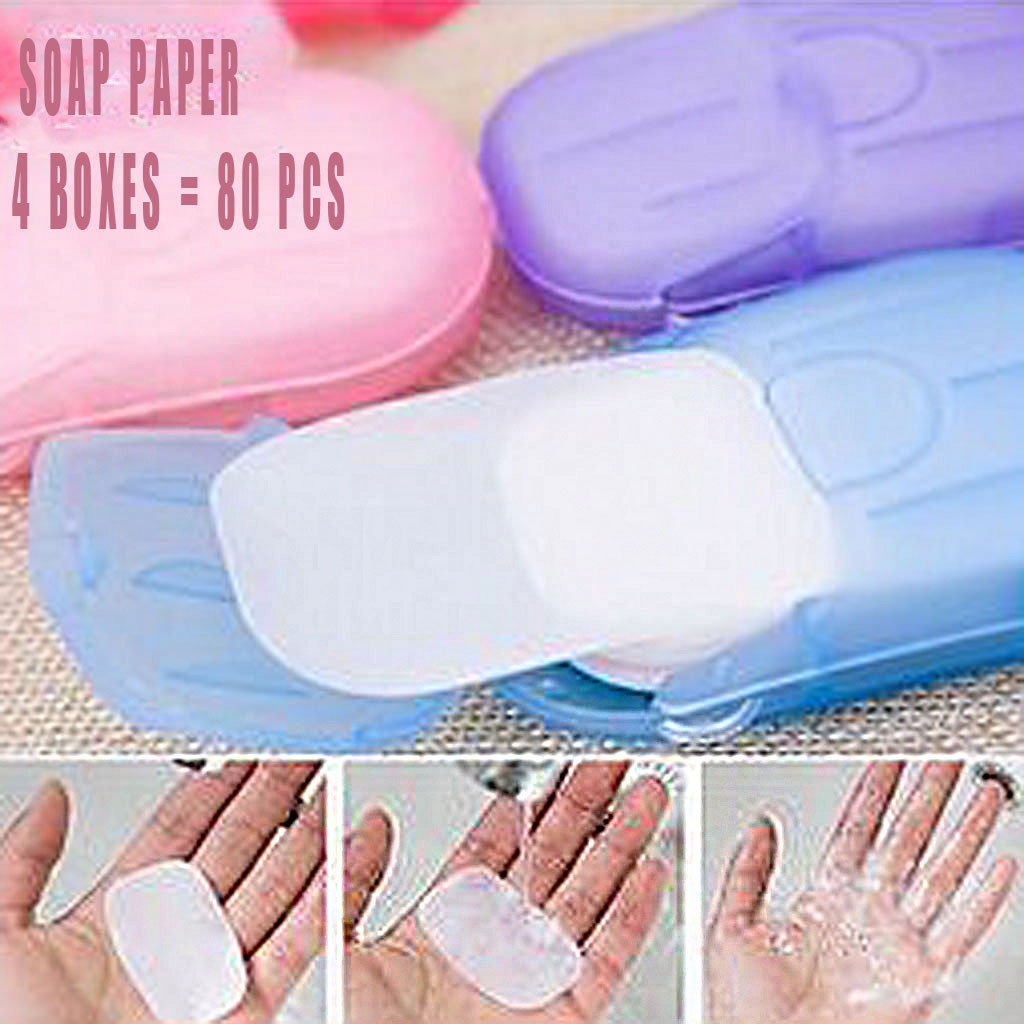 Outdoor Travel Soap Paper Washing Hand Bath Clean Scented Slice Sheets 4 Boxes Disposable Box Soap Portable Mini Paper Soap