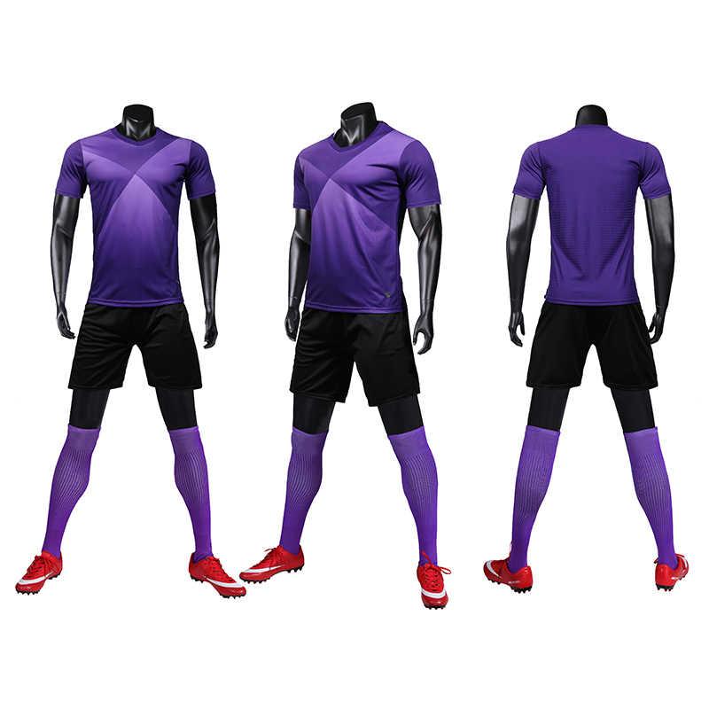 Camisa de futebol azul de manga curta dos homens roxo conjunto de camisa de futebol vermelho uniforme de futebol crianças correr esporte camisa personalizado número de nome