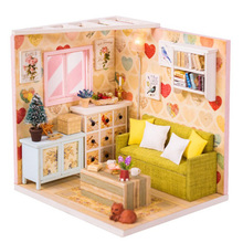 Miniature House with Cat Doll Accessories Diy Mini Wooden Dollhouse Tiny Child Toy Dust Cover