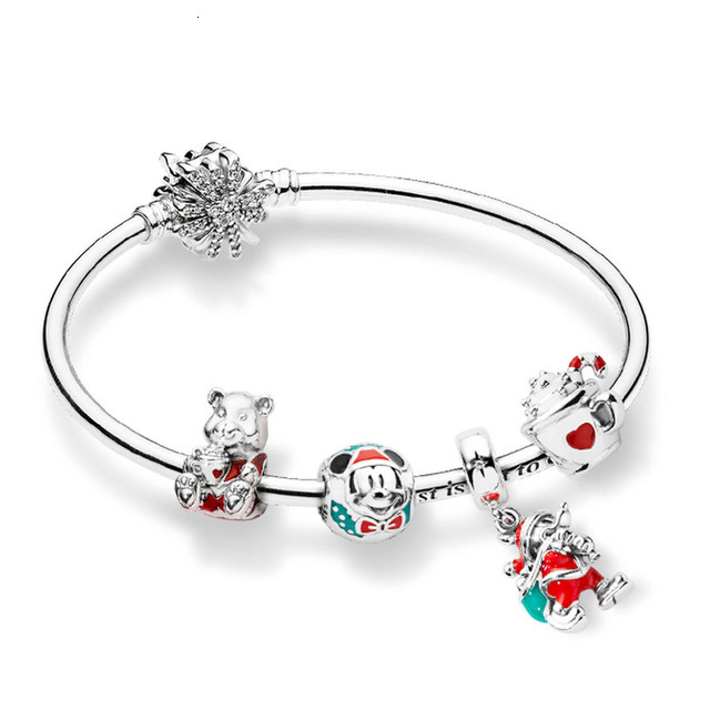 Best 100% 925 silver sterling zt0211 Christmas bracelet Christmas bear warm cocoa holy cocoa present pendant bag
