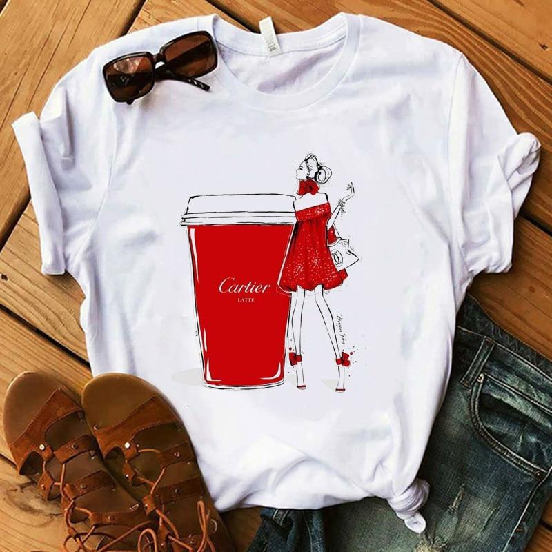 2020 Новая модная женская летняя футболка, Женская Роскошная Коллекция макияжа, повседневные топы кофейного цвета для девушек, хипстерские ф...
