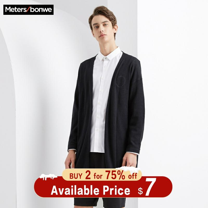 Metersbonwe Long Knitted Cotton Linen Sweater Male Cardigan Men Autumn Smart Casual Solid Color Clothing Fashion Cardigan