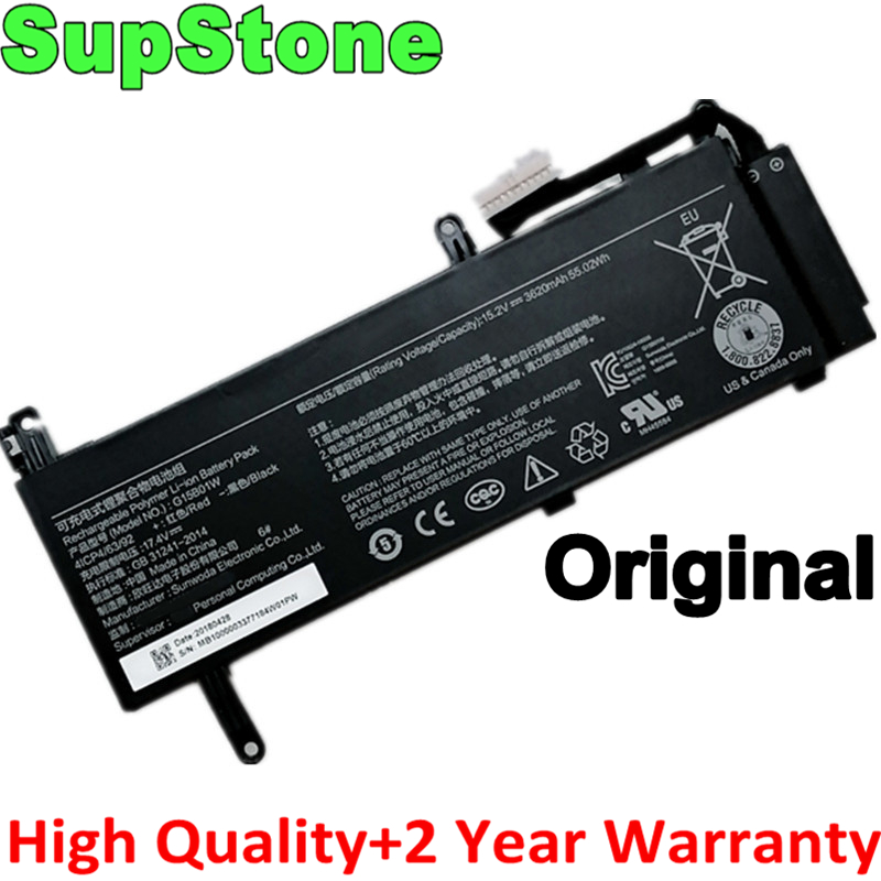 SupStone Genuine Original G15B01W laptop battery for Xiaomi Gaming Laptop 15.6'' i5 7300HQ GTX1050 GTX1060 1050Ti/1060 171502-A1(China)