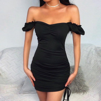 Sexy Off Shoulder Bodycon Dress Women Strapless Petal Sleeves Backless Mini Dresses Lady Party Club Dress Vestidos sexy plus size sequins summer dress women fashion off shoulder bodycon party dress elegant night club dresses midi vestidos new