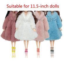 1 комплект +многоцветный длинный рукав мягкий мех пальто топы платье для 28% 2F30 см зима игрушка аксессуары одежда теплая детская повседневная одежда