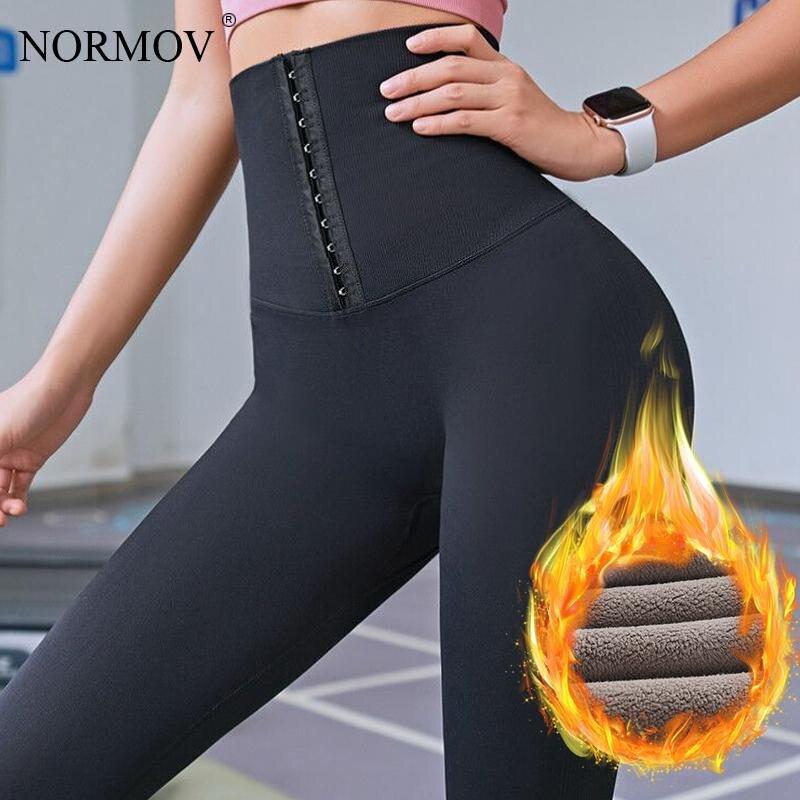 NORMOV sıcak kalın kadın tayt kış yüksek bel Push Up kadınlar için siyah sıkıştırma elastik Legging