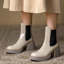Moda skóra bydlęca damskie botki na co dzień kwadratowe obcasy urząd Lady Chelsea Boots grube dno antypoślizgowe slip-On kobieta buty tanie tanio A-BUYBEA Kwadratowy obcas Buty motocyklowe GENUINE LEATHER CN (pochodzenie) Zima ANKLE Brytyjski styl Platforma Stałe QWSHO21535
