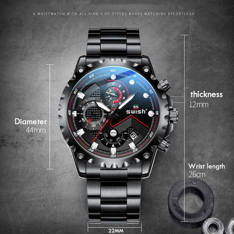 SWISH Sports Watches for Men 2020 Black Wristwatch Mens Fashion Luminous Military Chronograph Quartz Clocks Waterproof Relojes