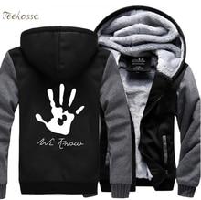 Skyrim Dark Brotherhood We Know Hand Hip Hop Hooded Men 2018 New Fashion Winter Warm Fleece Thick Zipper Hoodie Coat Streetwear