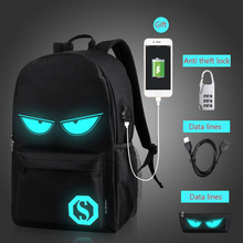 Luminous Fashion Backpacks Student Animation School Bags For Boy Girl Teenager USB Charge Computer Anti theft Laptop Back Pack