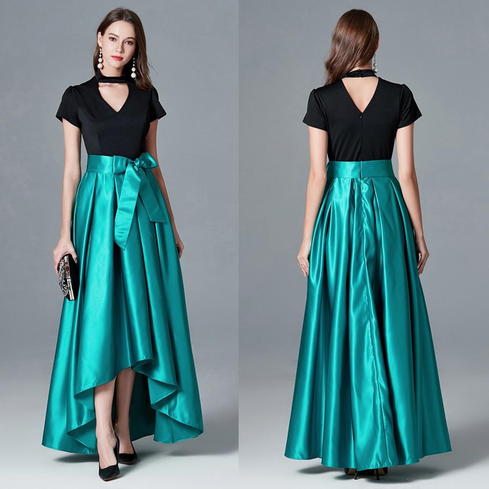 Nouveau Satin col en v haut bas Vestidos De Festa doux arc ceinture a-ligne robes De bal 2019 manches courtes robes De soirée Robe De soirée