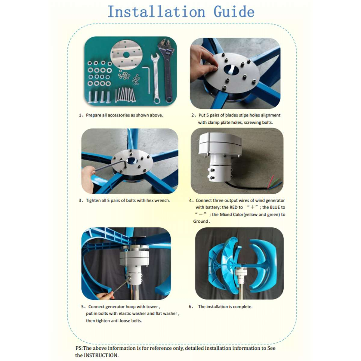 gerador lanterna 5 laminas motor kit turbinas 05