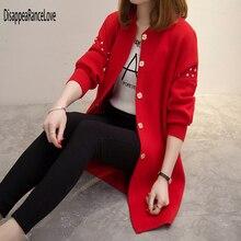 Женский кардиган средней длины, свободный Однотонный свитер с круглым вырезом и заклепками, со стразами, модная верхняя одежда, осень зима 2019
