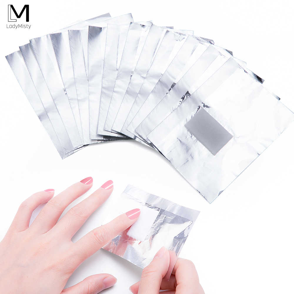 50/100PCS อลูมิเนียมฟอยล์ Remover เล็บ Remover โปแลนด์ผ้าเช็ดทำความสะอาดผ้าฝ้าย T อะคริลิค UV GEL Remover กระดาษทำความสะอาด