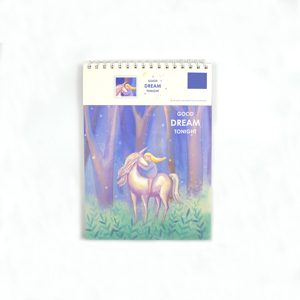 ZYWJUGE A4 Unicorn Watercolor Paper Sketch Book Portable Sketchbook Graffiti Sketch Hand Painting Notebook Good Dream Tonight