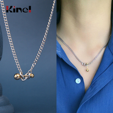 Kinel Silver 925 Jewelry Necklace Classic Temperament Wedding Necklaces 925 Sterling Silver Balance Ball Necklace for Women elegant silver 925 jewelry classic temperament cream necklace 8mm pearl 925 sterling silver chain for women