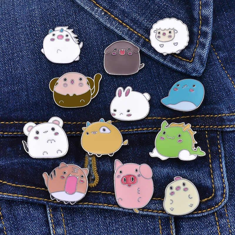 12 ピンかわいいのブローチ男性干支漫画マウスウサギ羊エナメルピンデニムジャケット襟バッジ