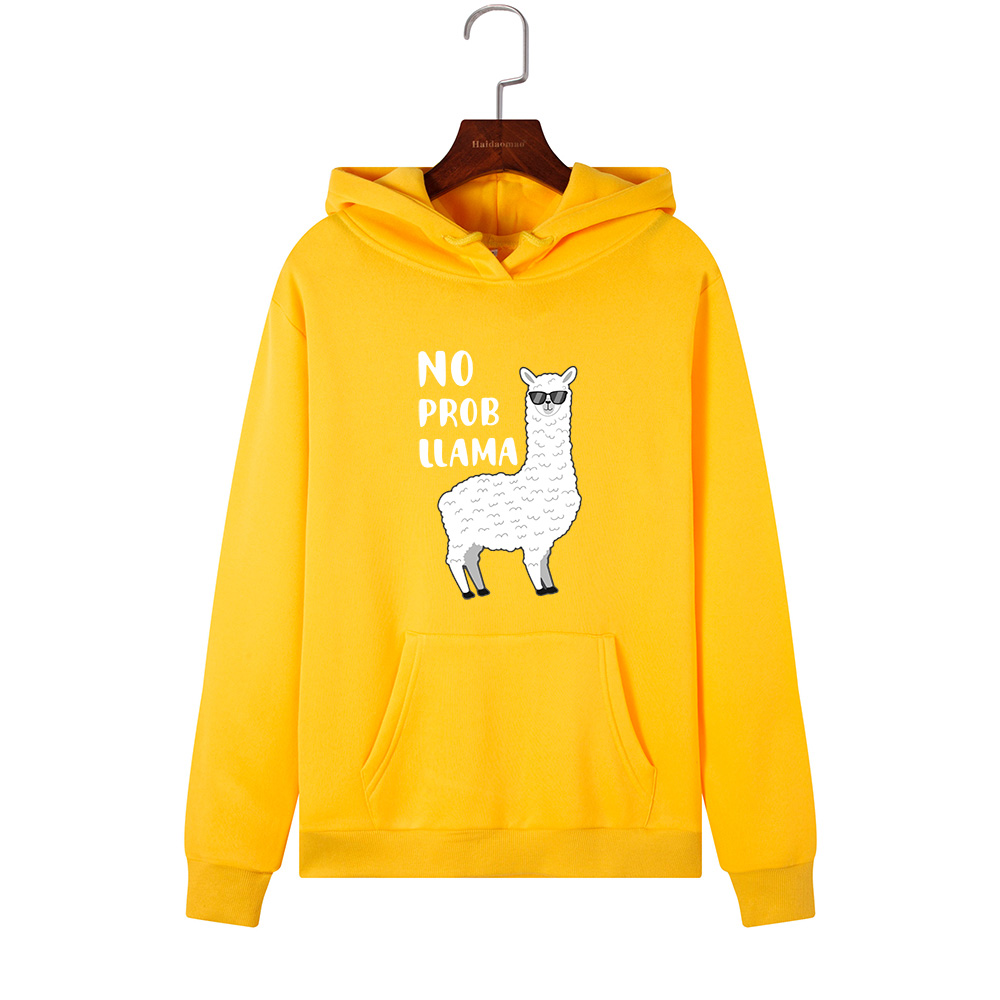 Women Hoodies Sweatshirts Hooded Sweatshirt Funny Animal Llama Print Autumn Winter Pullover Female Hoodie Tops Clothes Outwear