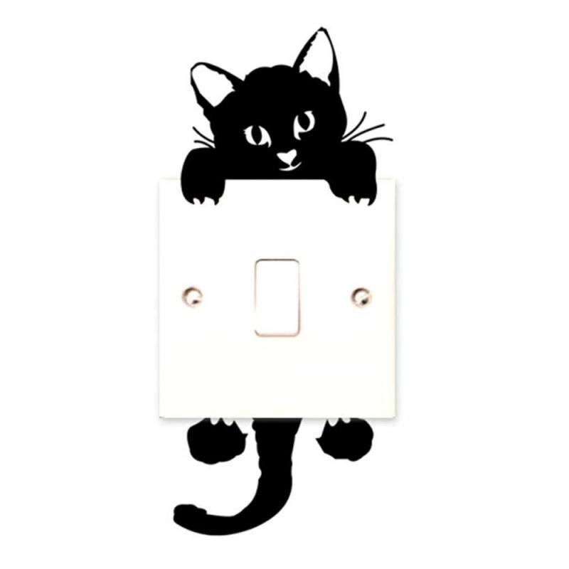 Kitty Спальня Наклейка на стену для выключателя стикеры черный милый кот виниловая наклейка арт 3D Наклейка на стену кошка Lover Подарки ПВХ обои