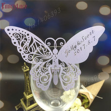60pcs Butterfly Laser Cut Paper Place Card / Escort Card / Cup Card/ Wine Glass Card Custom Name For Wedding Party Decoration 120pcs lot laser cut humming bird shaped table name place card escort card wine glass card wedding baby shower decoration wd108