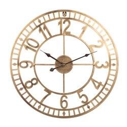 40cm/50cm/60cm 24 cali z kutego żelaza cyfry arabskie cichy  ścienny zegar Hollow wiszący zegar do wystroju domu-srebrny złoty
