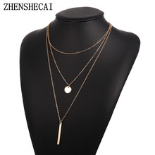 2019 Bohemia simple 3 layers clavicle chain necklace round pendant women wedding party accessories female fashion jewelry(China)