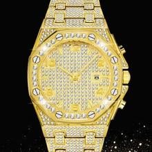 Hip hop gelo para fora relógio masculino diamantes completos relógios homem 18k ouro banda de aço inoxidável dos homens quartzo relógio de pulso bling cz reloj hombre