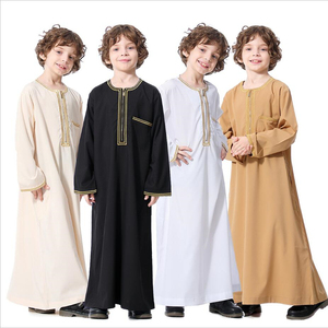 2020 Beautiful abaya for kids muslim clothes dubai arabic dress for boys quality with zipper children's islamic robes solid lot