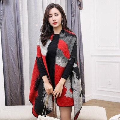 Новинка, роскошный брендовый женский зимний шарф, теплая шаль, женское Клетчатое одеяло, вязанное кашемировое пончо, накидки для женщин, echarpe - Цвет: style 11