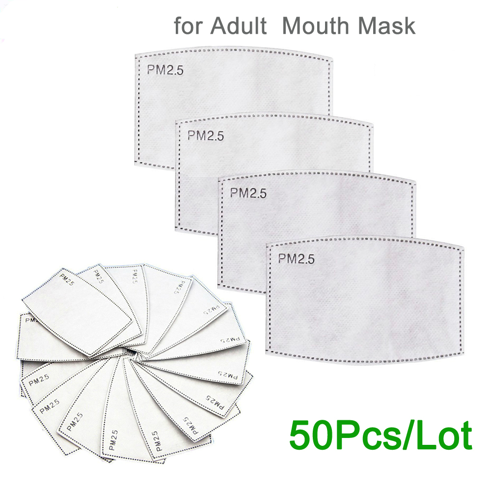 Tcare 50pcs/Lot PM2.5 Filter Paper Anti Frog Mouth Mask Anti Dust Mask Activated Carbon Filter Paper