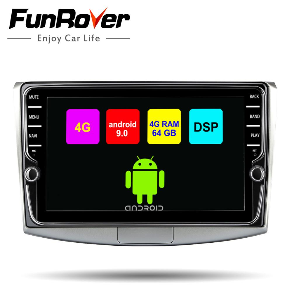 Funrover car multimedia player 2 din android 9 0 dvd radio gps for Passat  B6 B7 CC Magotan Touran Split screen SIM 4G+64G stereo