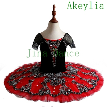 Don Quixote Ballet Tutu Costume black Red Professional Tutus Girl Ballerina Pancake Classical