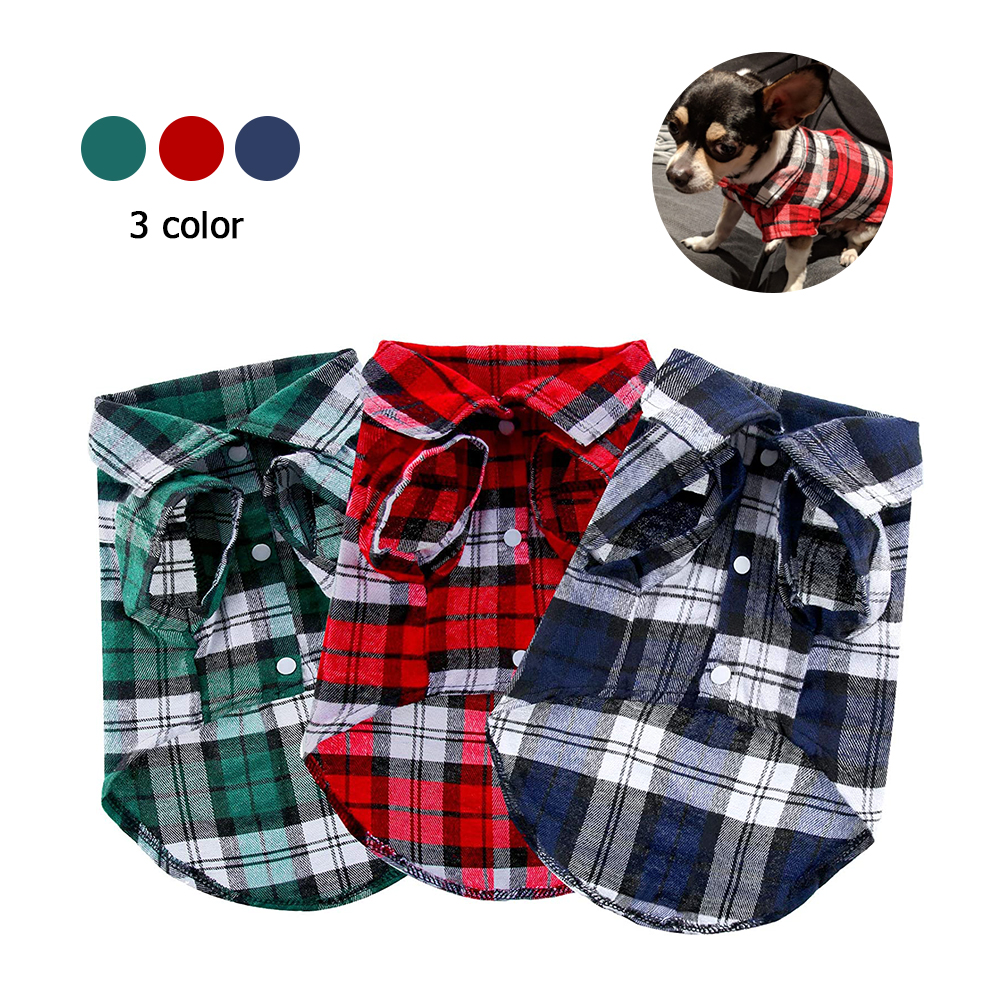 Kevnicely Dog Shirts British Style Plaid Dog Shirts Cotton Pet Puppy T-Shirt Dog Clothes For Small Medium Dogs Cat Y024