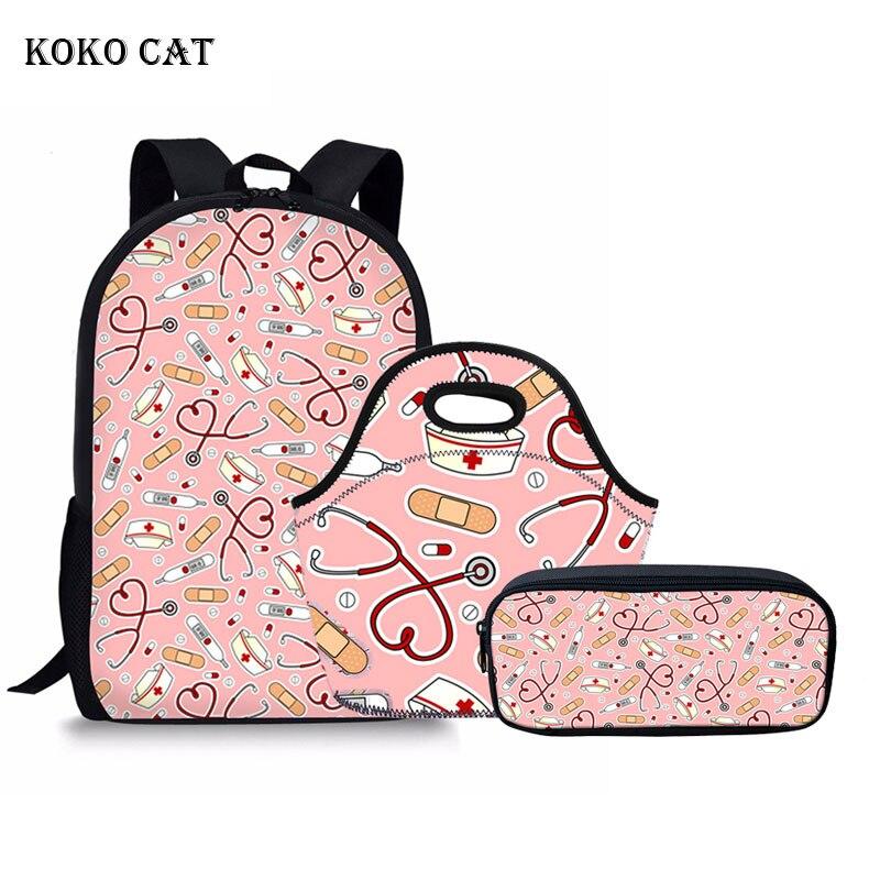 KOKO CAT Children School Bag Sets Girls Teenager Backpack Set Cute Nurse Pattern Travel Daypack Mochila Feminina Bolsas De Mujer